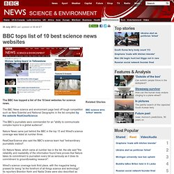 BBC tops list of 10 best science news websites