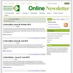 ALT Online Newsletter | Category Archive | In This & Past Editions