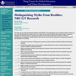 NRC/GT—Winter '98 Newsletter-Distinguishing Myths From Realities: NRC/GT Research