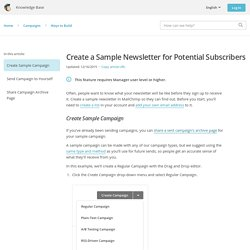 Create a Sample Newsletter for Potential Subscribers
