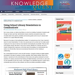 Using School Library Newsletters to Communicate
