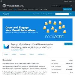 Popups, Optin Forms, Email Newsletters for MailChimp, AWeber, HubSpot – MailOptin – WordPress plugin