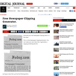 Free Newspaper Clipping Generator.