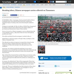 Breaking taboo, Chinese newspaper carries editorial on Tiananmen