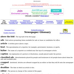Newspaper Glossary: EnchantedLearning.com
