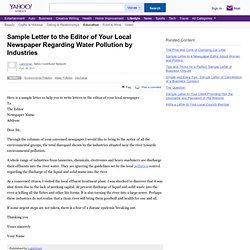 Sample Letter to the Editor of Your Local Newspaper Regarding Water Pollution by Industries