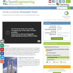 Newspaper Tower - Activity - www.teachengineering.org