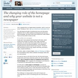 The changing role of the homepage and why your website is not a newspaper
