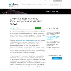 Consumer Trust in Online, Social and Mobile Advertising Grows