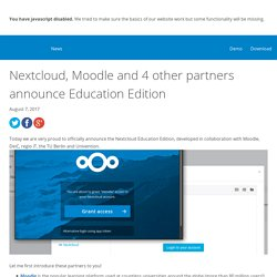 Moodle and 4 other partners announce Education Edition – Nextcloud