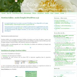 NextGen Gallery : mode d emploi (WordPress 2.5) Le Blog de Lise