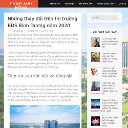Những thay đổi trên thị trường BĐS Bình Dương năm 2020