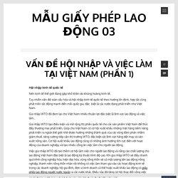 Vấn đề hội nhập và việc làm tại Việt Nam (Phần 1)