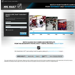Hockey Games Live Online - NHL GameCenter LIVE™ Login