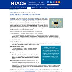 NIACE maths app awarded 'App of the Year'
