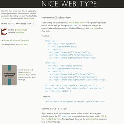 Nice Web Type – How to use CSS @font-face