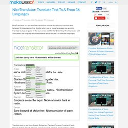 NiceTranslator: Translate Text To & From 36 Languages | Make