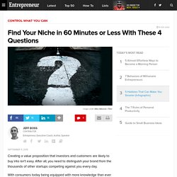 Find Your Niche in 60 Minutes or Less With These 4 Questions
