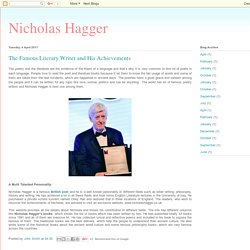 Nicholas Hagger: The Famous Literary Writer and His Achievements