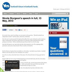 Nicola Sturgeon's speech in full May 13, 2013