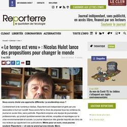 «Le temps est venu»: Nicolas Hulot lance des propositions pour changer le monde