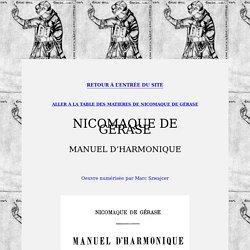 Nicomaque de Gérase : Manuel d'Harmonique