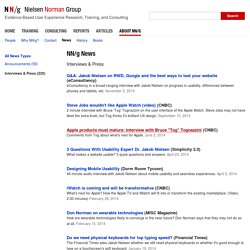 Nielsen Norman Group Interviews and Press Coverage