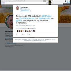 """Peter Burger Twitter ನಲ್ಲಿ: """"Zometeen bij RTL Late Night: @APleijter van @nieuwscheckers en @gjhoekman van @NUnl over nepnieuws op Facebook factchecken."""""""