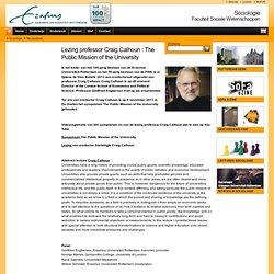 EUR: Lezing prof Calhoun: The Public Mission of the University