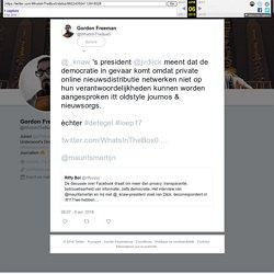 """Gordon Freeman sur Twitter : """"@_knaw 's president @jvdijck meent dat de democratie in gevaar komt omdat private online nieuwsdistributie netwerken niet op hun verantwoordelijkheden kunnen worden aangesproken itt oldstyle journos & nieuwsorgs. èchter #dete"""