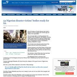 54 Nigerian disaster victims' bodies ready for SA:Thursday 13 November 2014