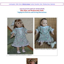 Nightgown Patterns for Bitty Baby and 18 inch American Girl Dolls