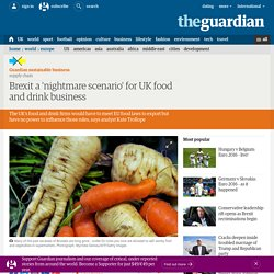 THE GUARDIAN 16/01/16 Brexit a 'nightmare scenario' for UK food and drink business