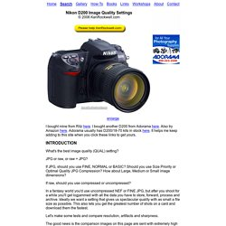 Nikon D200 File Format Settings