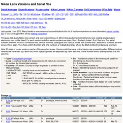 Nikon Lens Versions and Serial Nos