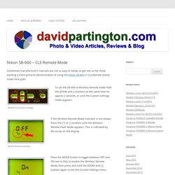 Nikon SB-600 - CLS Remote Mode - DavidPartington.com