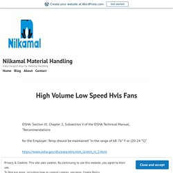 High Volume Low Speed Hvls Fans