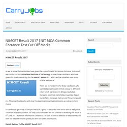 NIT MCA Common Entrance Test Cut Off Marks