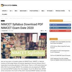 NIMCET Syllabus Download PDF NIMCET Exam Date 2020