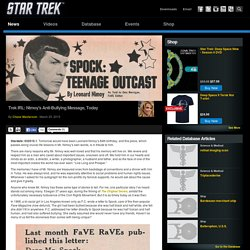 Star Trek Trek IRL: Nimoy's Anti-Bullying Message, Today