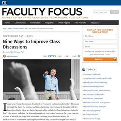 Nine Ways to Improve Class Discussions