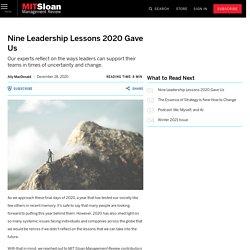 Nine Leadership Lessons 2020 Gave Us