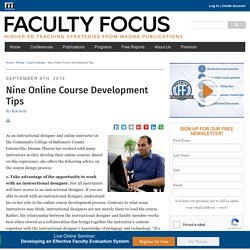 Nine Online Course Development Tips