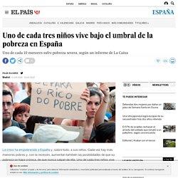 Uno de cada tres niños vive bajo el umbral de la pobreza en España