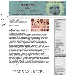 Anarchistes contre le racialisme - Nique la « race » ! - 2015
