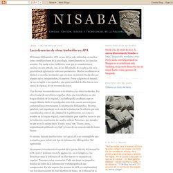 Nisaba: Las referencias de obras traducidas en APA