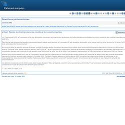 PARLEMENT EUROPEEN - Réponse à question E-0763/03 Résidus de nitrofurane dans des crevettes et de la volaille importées