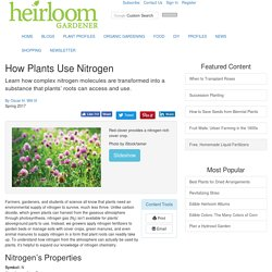 How Plants Use Nitrogen - Organic Gardening - Heirloom Gardener