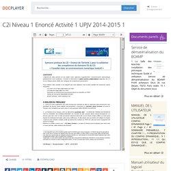 ⭐C2i Niveau 1 Enoncé Activité 1 UPJV 2014-2015 1