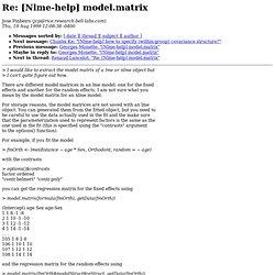 [Nlme-help] model.matrix